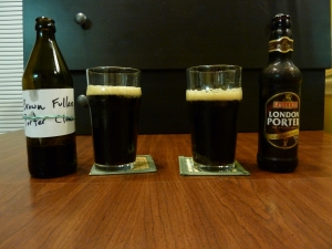 The clone (left) vs the real thing (right) of Fuller's London Porter!