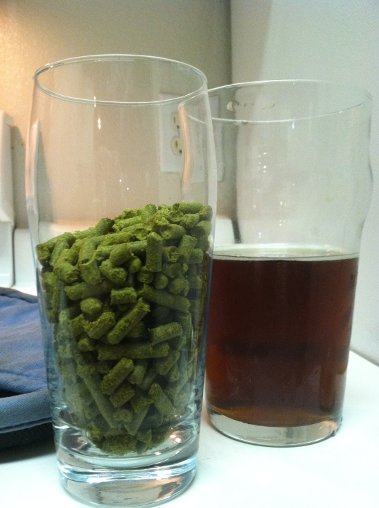 4 oz of Falconer's Flight hops next to my 2012 Altbier