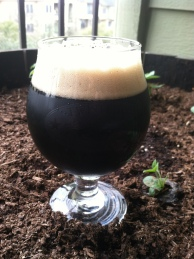 Snifter of the Session Oatmeal Stout next to sunflower seedlings.
